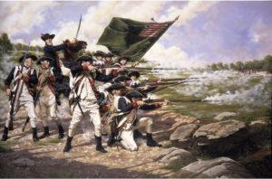 magem da Batalha de Long Island, durante a guerra de independência dos Estados Unidos