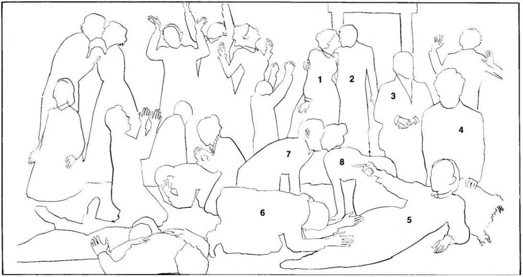 """Identificação das pessoas que aparecem na reprodução artística de como foi a reunião liderada por Israel Dammon. Postagem """"O que a Ellen White estava fazendo naquela reunião?"""""""