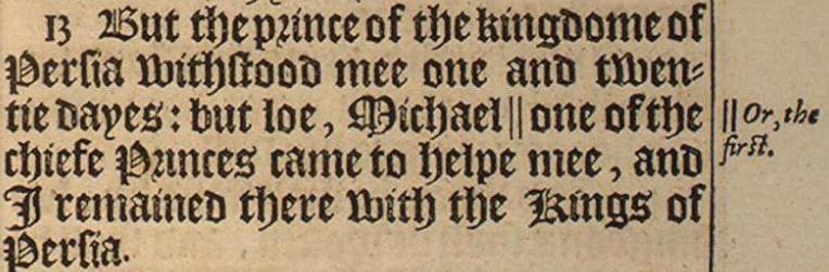 Imagem de Daniel 10.13 na tradução de King James.
